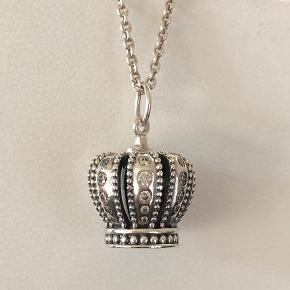21174f497 Pandora Large Crown Pendant Necklace. M_5c112e44819e90c35b1f84b9